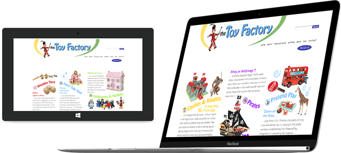 The Toy Factory website on a laptop and tablet