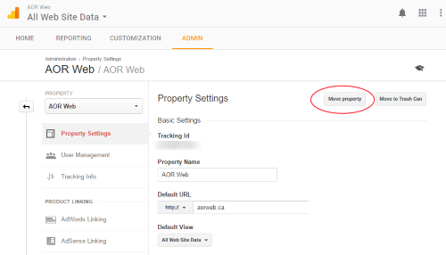 Moving Google Analytics Properties